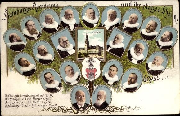 Wappen Ak Hamburg, Regierung und ihr stolzes Heim, Politiker, Rathaus, Bürgermeister Dr. Mönkeberg 0