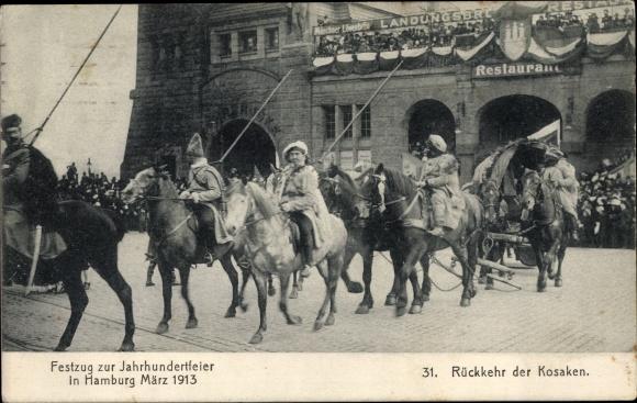 Ak Hamburg, Festzug zur Jahrhundertfeier 1913, Rückkehr der Kosaken, Reiter 0