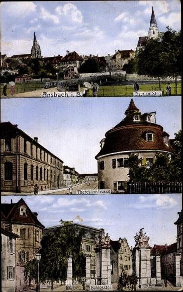 Ak Ansbach in Mittelfranken Bayern, Eiserner Steg, Theresienstraße, Schlosstor 0