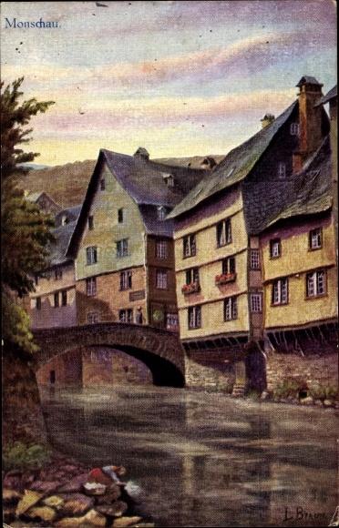 Künstler Ak Monschau Montjoie in der Eifel, Alte Häuser an der Ruhr, Wäscherin am Flussufer 0