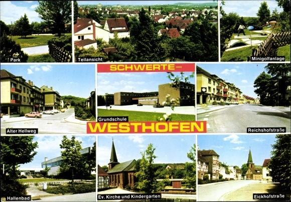 Ak Westhofen Schwerte im Ruhrgebiet, Park, Minigolfanlage, Alter Hellweg, Reichshofstraße, Hallenbad 0