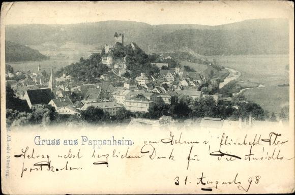 Ak Pappenheim in Mittelfranken, Totalansicht vom Ort, Blick auf Berg und Burg 0