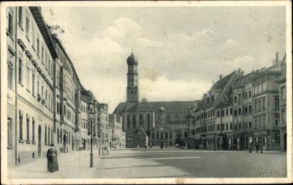 Ak Augsburg in Schwaben, Obere Maximilianstraße mit St. Ulrich Kirche 0