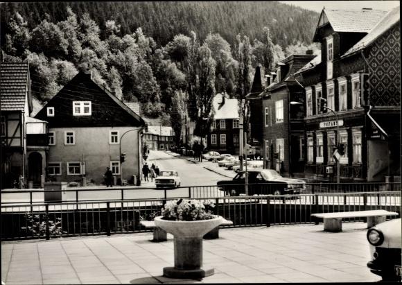 Ak Katzhütte im Schwarzatal Thüringen, Karl Marx Platz, Postamt, Autos 0