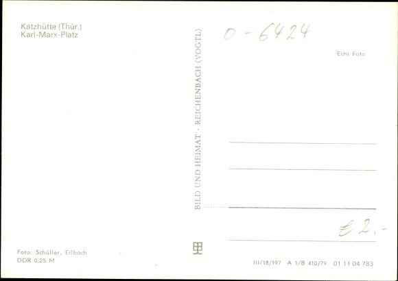 Ak Katzhütte im Schwarzatal Thüringen, Karl Marx Platz, Postamt, Autos 1