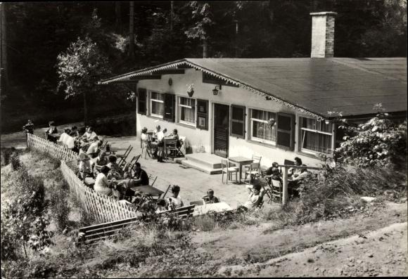 Ak Katzhütte im Schwarzatal Thüringen, Waldgaststätte Amselheim, Terrasse 0
