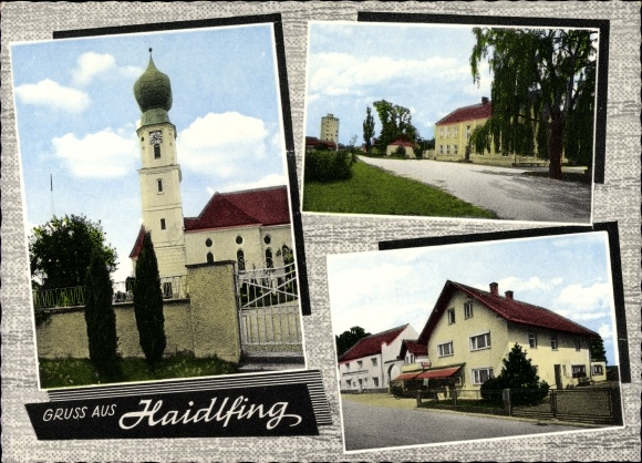 Ak Haidlfing Wallersdorf in Niederbayern, Kirche, Straßenpartie, Geschäftshaus