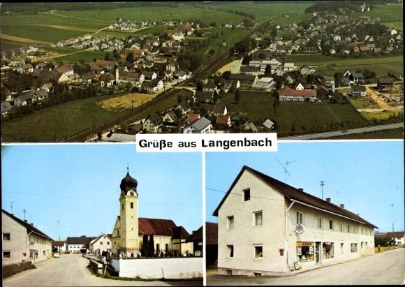 Ak Langenbach Oberbayern, Fliegeraufnahme des Ortes, Kirche, Edeka Geschäftshaus 0