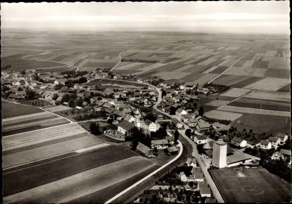 Ak Haidlfing Wallersdorf in Niederbayern, Fliegeraufnahme von Ort und Umgebung, Felder 0