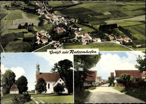 Ak Ratzenhofen Elsendorf in Niederbayern, Fliegeraufnahme des Ortes, Kirche, Straße, Wohnhäuser 0