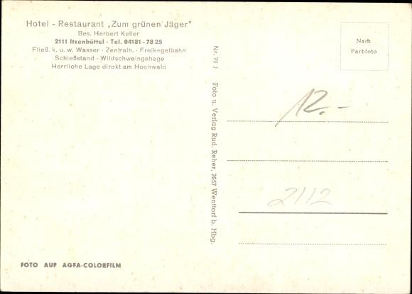 Ak Itzenbüttel Jesteburg in Niedersachsen, Gasthof zum grünen Jäger, Inh. Herbert Keller 1