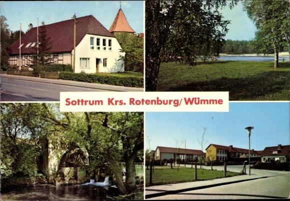 Ak Sottrum Holle in Niedersachsen, Kirche, Badesee, Wassermühle, Schulhaus 0