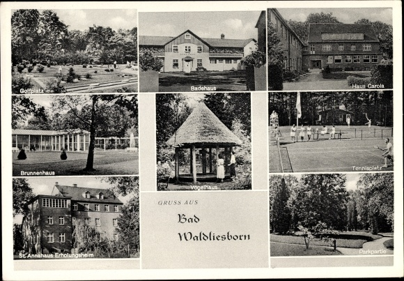 Ak Bad Waldliesborn Lippstadt Nordrhein Westfalen, St. Annahaus, Badehaus, Haus Carola, Brunnenhaus 0