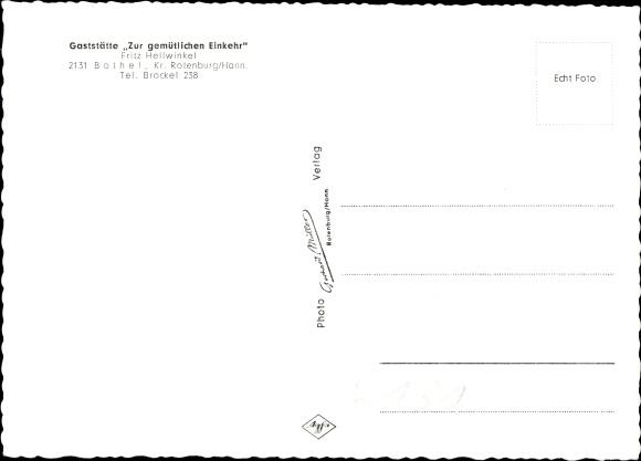 Ak Bothel Niedersachsen, Gaststätte Zur gemütlichen Einkehr, Inh. Fritz Hellwinkel, Innenansichten 1