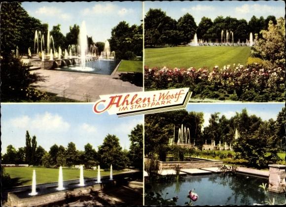 Ak Ahlen im Münsterland, Stadtpark, Anlagen mit Fontänen, Teiche 0