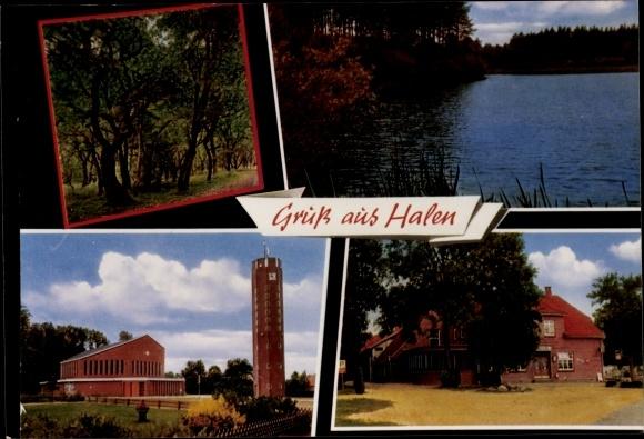 Ak Halen Emstek in Niedersachsen, Kirche, Gasthaus, Waldpartie, See 0