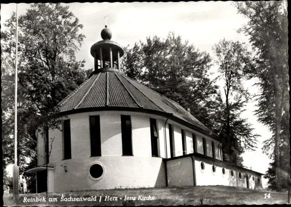 Ak Reinbek in Schleswig Holstein, Herz Jesu Kirche, Außenansicht 0