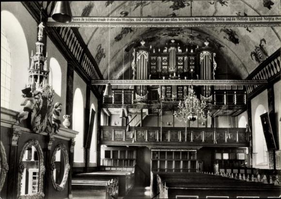 Ak Hamburg Harburg Neuenfelde, Barockkirche, Innenansicht, Orgel v. Arp Schnitger 0