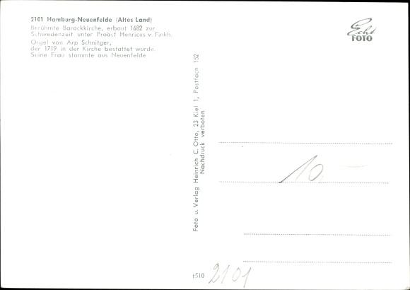 Ak Hamburg Harburg Neuenfelde, Barockkirche, Innenansicht, Orgel v. Arp Schnitger 1