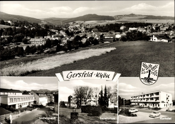 Ak Gersfeld in der Rhön Hessen, Ludwigsstift, Sanatorium, Kurhotel, Panorama, Wappen 0