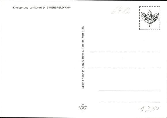 Ak Gersfeld in der Rhön Hessen, Ludwigsstift, Sanatorium, Kurhotel, Panorama, Wappen 1