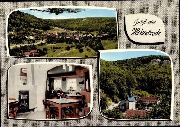Ak Hitzelrode Meinhard in Hessen, Pension Gaststätte von M. Sodies, Kirche, Panorama 0