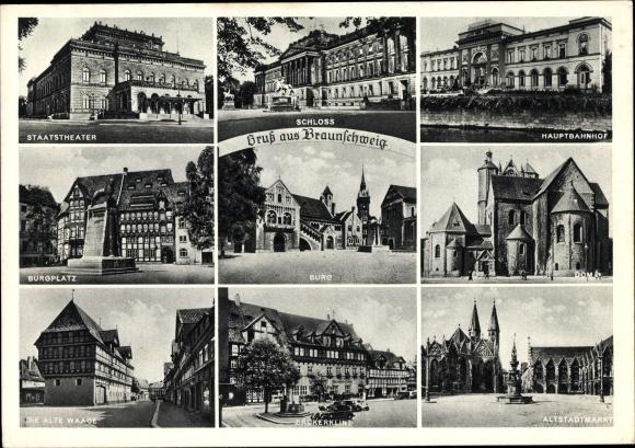 Ak Braunschweig, Staatstheater, Schloss, Hauptbahnhof, Burg, Dom, Alte Waage, Bäckerklint, Markt 0
