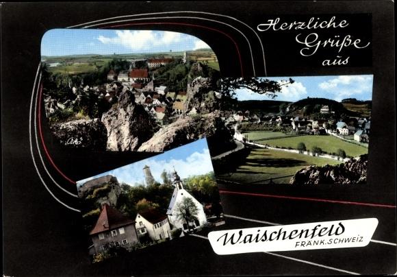 Ak Waischenfeld in der Fränkischen Schweiz Bayern, Ortspanorama, Kirche 0