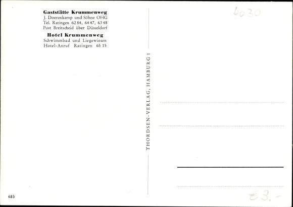 Ak Breitscheid Ratingen Nordrhein Westfalen, Hotel Krummenweg, Inh. J. Doerenkamp, Schwimmbad 1