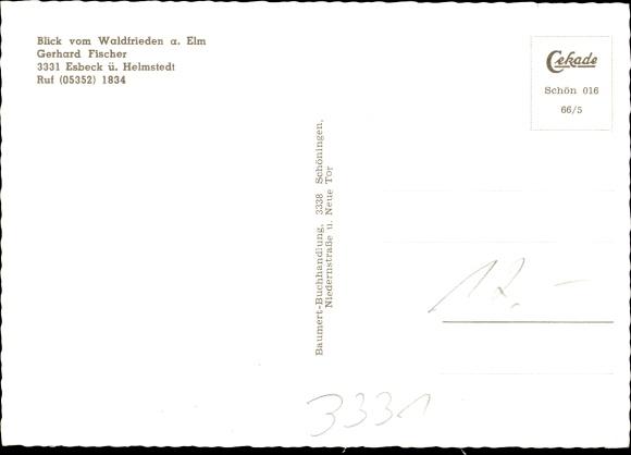 Ak Esbeck Elze in Niedersachsen, Aussicht vom Waldfrieden a. Elm, Inh. Gerhard Fischer 1