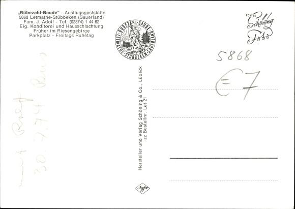 Ak Stübbeken Letmathe Iserlohn, Gaststätte Rübezahlbaude v. J. Adolf, Humpfert Aussichtsturm 1