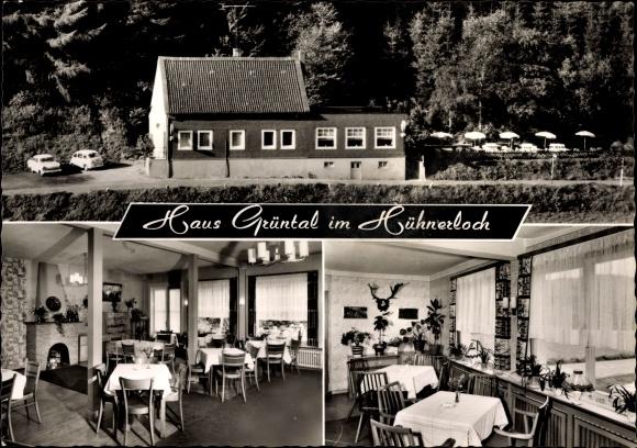 Ak Ennepetal der Kluterthöhle, Cafe Restaurant Haus Grüntal im Hühnerloch, Inh. W. Weide 0