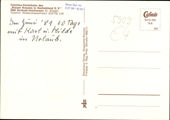 Ak Holzhausen Burbach Siegerland, Familienferienheim Blaues Kreuz in Dtl. e.V., Fliegeraufnahme 1