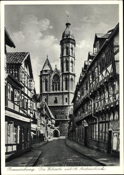 Ak Braunschweig in Niedersachsen, Weberstraße mit St. Andreas Kirche, Fachwerkhäuser 0