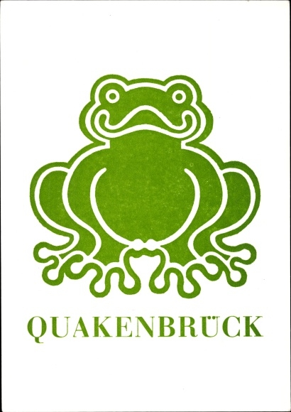 Künstler Ak Quakenbrück in Niedersachsen, sitzender grüner Frosch 0