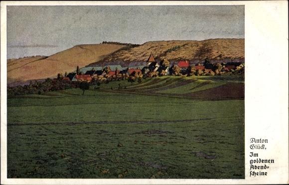 Künstler Ak Glück, Anton, Im goldenen Abendscheine, Landschaftsansicht 0