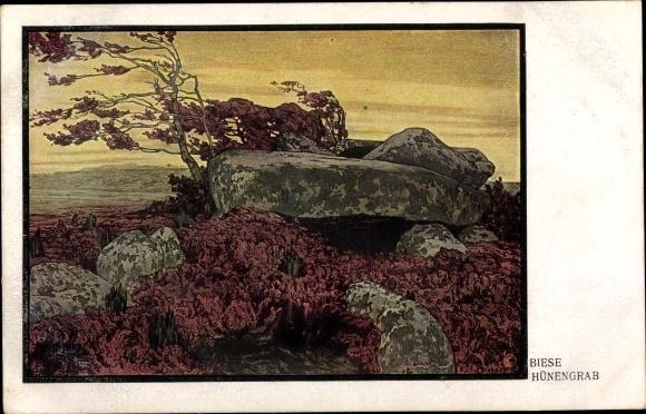 Künstler Ak Biese, C., Blick auf ein Hünengrab, Felsen