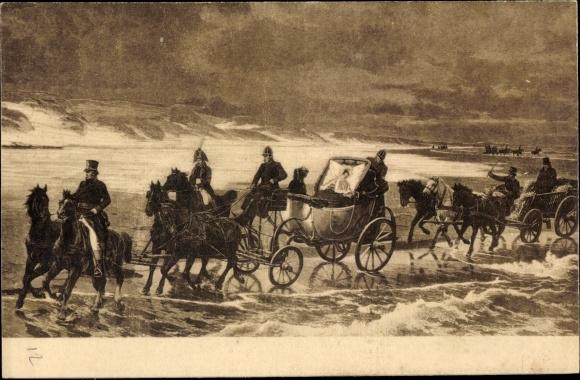 Künstler Ak Frau liegt in einer Kutsche, Mann auf einem Karren, Reiter am Strand 0