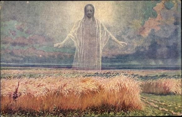Künstler Ak Liebscher, Adolf, Jesuserscheinung über einem Getreidefeld 0