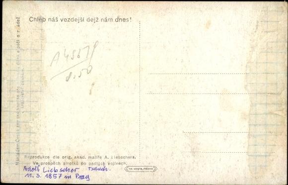 Künstler Ak Liebscher, Adolf, Jesuserscheinung über einem Getreidefeld 1