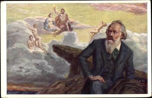 Künstler Ak Konopa, R., Komponist Johannes Brahms, Portrait, I. Symphonie op. 68 0
