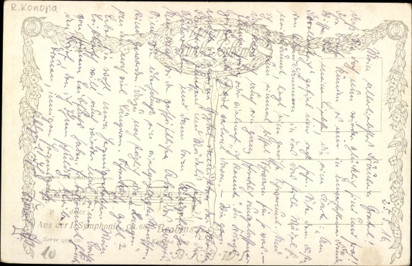 Künstler Ak Konopa, R., Komponist Johannes Brahms, Portrait, I. Symphonie op. 68 1