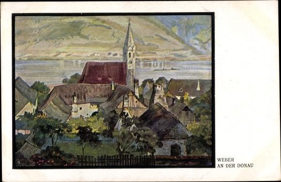 Künstler Ak Weber, An der Donau, Ortschaft mit Kirche 0