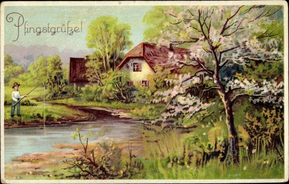 Litho Glückwunsch Pfingsten, Angler am Ufer, Baumblüte, Landschaftsansicht 0