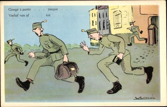 Künstler Ak Belgische Soldaten, Soldatenhumor 0
