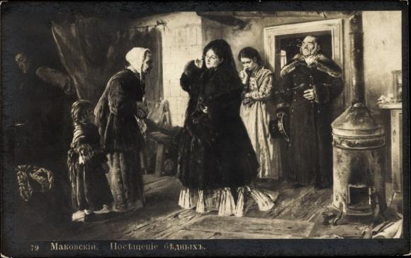 Künstler Ak Makowski, K., Wohnstube, Heizofen, Frauen, Männer 0