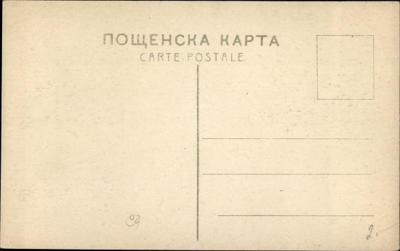 Künstler Ak Makowski, K., Wohnstube, Heizofen, Frauen, Männer 1
