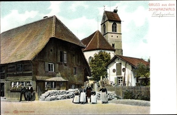 Ak Schwarzwald, Volkstrachten, Kirche, Storchennest  0