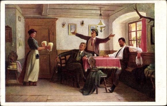 Künstler Ak Straka, Josef, Ferienzeit, Biergläser, BKWI 2522