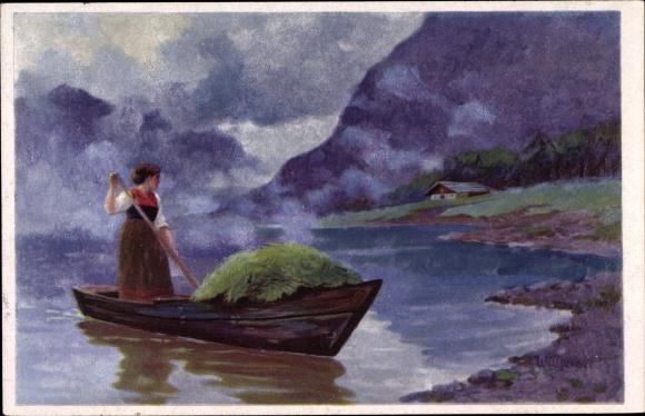 Künstler Ak Frau in Volkstracht, Ruderboot, Landschaftsblick, Wenau Delila 1872 0